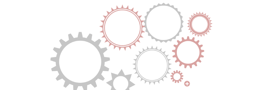 Flat graphic of various gearwheels with web technology icons within them